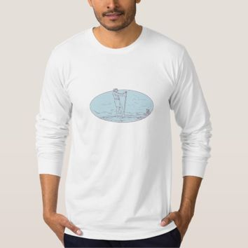 Guy Stand Up Paddle Tropical Island Oval Drawing T-Shirt