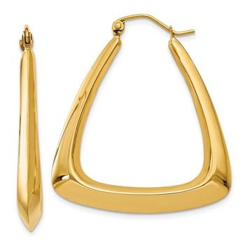 14k Solid Gold 19 mm Fancy Hoop Earrings