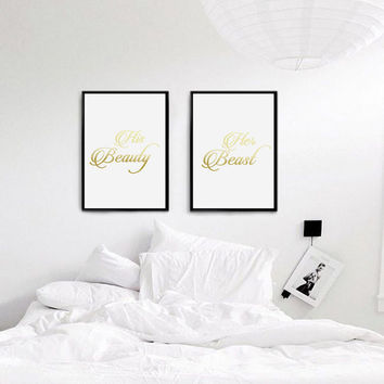Real Gold Foil Print, Mr and Mrs Bedroom Print, His beauty Her beast, Wall Decor, Bedroom Decor, Fashion Print, Wedding Poster, Wedding Gift