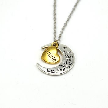 Hand stamped I Love You to the Moon and Back Charm Necklace Silver Gold uncle +Gift Box