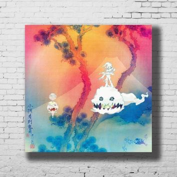 Art Print POSTER Kids See Ghosts Kanye West & Kid Cudi Album Cover Home Decoration Hot Wall Canvas 16x16 24x24 30x30inch G-296