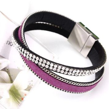2017 Hot Sparkling Full Rhinestone Belt Buckle Wide Magnetic Leather Bracelets & Bangles Women Pulsera Mujer Bijoux