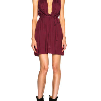 Wine Red Drape Scoop Neck Tie Bow Dress