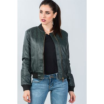 Ladies fashion peacock fully lined peacock pleather bomber jacket