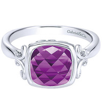 Gabriel Sterling Silver Cushion Shaped Amethyst Ring