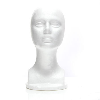 White Styrofoam Mannequin Foam Head Model Glasses Hair Wig Display Stand