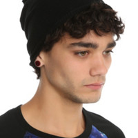 Black Rolled Edge Slouch Beanie