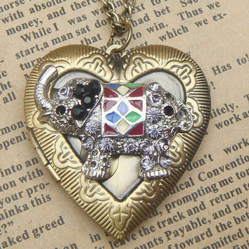 Steampunk Elephant Heart Locket Necklace Vintage by sallydesign