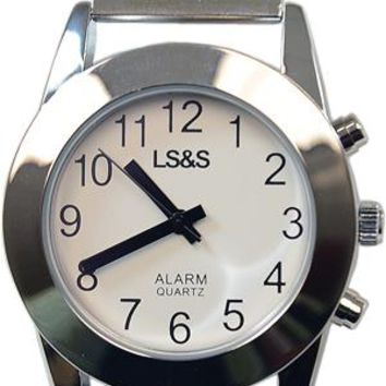 LS&S Touch Face Talking Watch, White face Silver band