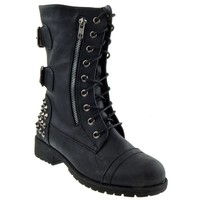 Women's Black Fashion Studded Military Combat Boots