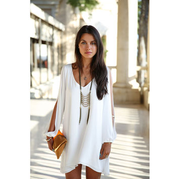 V Neck Chiffon Dress Cut Out Long Sleeve Irregular Mini Dress Plus Size Casual Loose Summer Beach Dresses