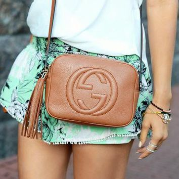 Gucci fashion hot double G lady single shoulder fringed bag Brown