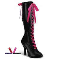 Bordello TEMPT-125 Ribbon Lace-up Knee Boots - Bordello Shoes