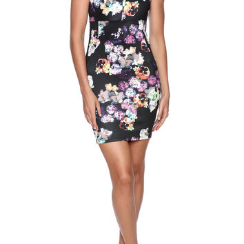 Sleeveless Floral Print Body-con Dress (+Colors)