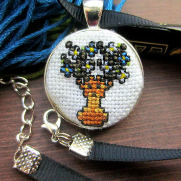 Stag Cross Stitch Necklace, Deer Necklace, Stag Necklace, Flower Necklace, Handmade Necklace, Nature Jewellery, Colourful Pendant