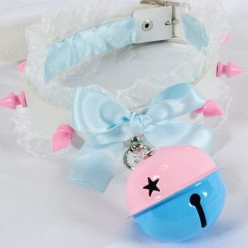 MADE TO ORDER: White Faux Leather Ruffle Spiked Pink and Baby Blue Jumbo Bell Collar