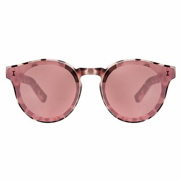 Illesteva Two Point One 64mm White Tortoise Sunglasses / Rose Mirror Lenses