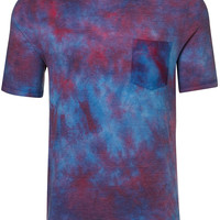 Purple And Red Wash Pocket T-shirt - Men's T-Shirts & Vests - Clothing - TOPMAN