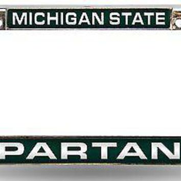 Michigan State Spartans LASER FRAME Chrome Metal License Plate Cover University