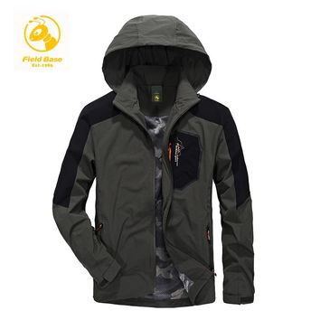 Field Base Military Tactical Jacket Men Spring Autumn Waterproof Softshell Jackets for Men Army Jacket Patchwork Plus size L-4XL