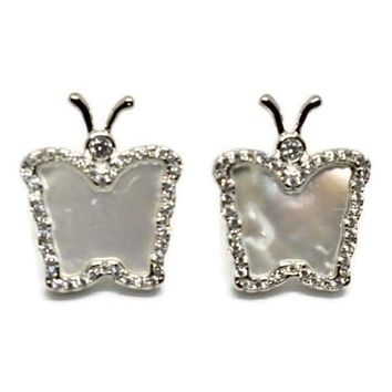 Mother of Pearls Butterflies Studs 18kts of Silver Plated