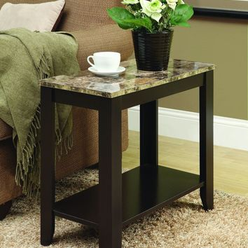 Cappuccino / Marble Top Accent Side Table