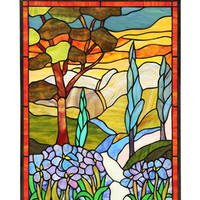 Arts and Crafts Almos Stained Glass Panel