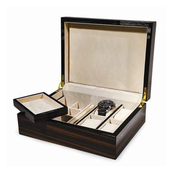Ebony Piano Finish Wood Jewelry Box - Perfect Gift