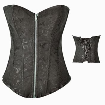 ONETOW Sexy Gothic Victorian Bustier Corset size up to XXXXL Black and White = 1929885636