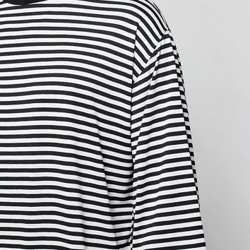 3/4 Sleeve Oversized Striped T Shirt | Boohoo