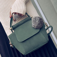 Women Nubuck Leather Chic Handbag Shoulder Bag Female Casual Crossbody Messenger Bags +Free Gift -Random Necklace-72