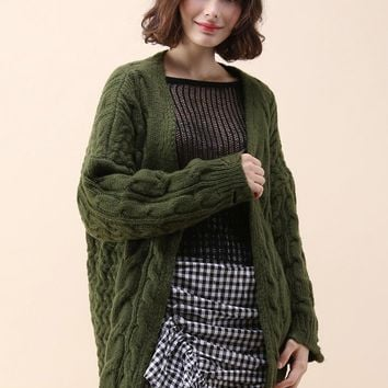 Comfy Day Diary Cable Knit Cardigan in Army Green