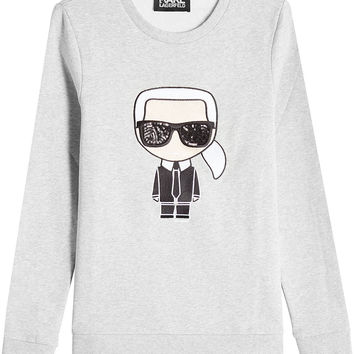Embellished Cotton Sweatshirt - Karl Lagerfeld | WOMEN | US STYLEBOP.COM