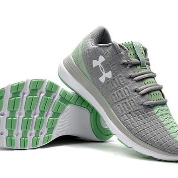HCXX B220 Under Armour Slingflex Threadborne Flyknit Causal Breathable Running Shoes Grey Green
