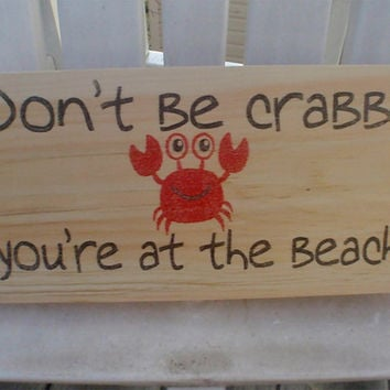 Crab sign, beach sign, home decor, wall decoration, coastal decor, cute crab sign, you're at the beach sign, FREE SHIPPING
