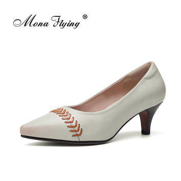 2017 New women's shoes genuine  leather shoes Low Heels Women Pumps  pointed wedding shoes 1168-7