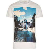 River Island MensWhite LA photo print short sleeve t-shirt