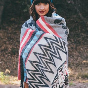 Tribal Print Blanket Scarf - Black/Coral