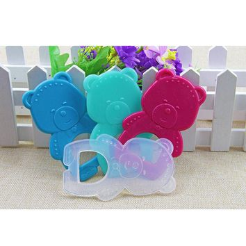 1Pc Baby Teether Toy Newborn Colored Rubber Cute Cartoon Bear Food Silicone