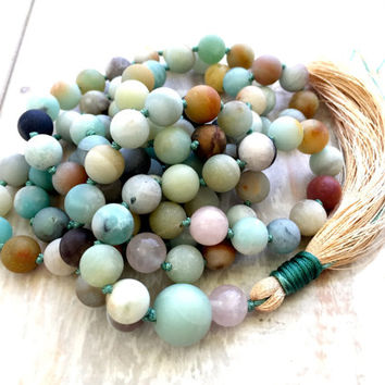 Amazonite Knotted Mala Beads, Hand Knotted 108 Bead Mala, Silk Tassel Mala, Rose Quartz and Amazonite Meditation Beads, Yoga Jewelry
