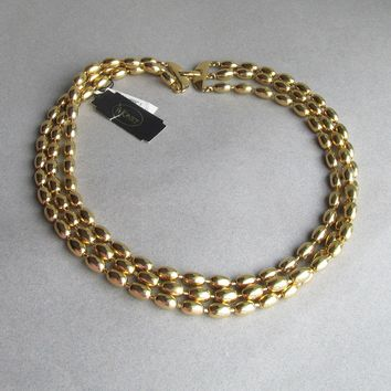 Vintage Signed MONET Triple Strand Bright Gold Tone Oval Bead Necklace, NEW with Tag!