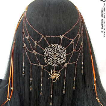 Tarrantulah Headpiece - Gothic Spider Web Black Orange Clip Renaissance