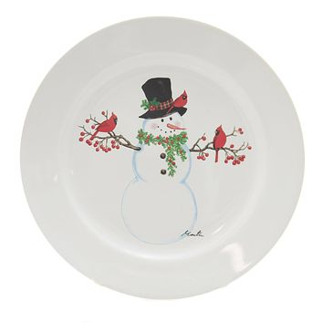 Tabletop SNOWMAN PLATE. Stoneware Cardinal Tophat 68636 C