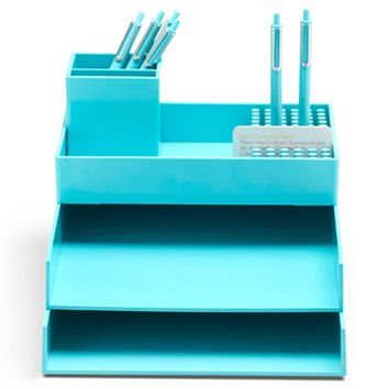 Super Stacked Dorm Desk Bundle - Aqua