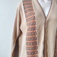60s Brown Boyfriend Sweater Atomic Cardigan Tan Vintage Mens Top Button Up