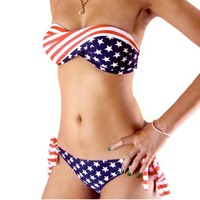 Sexy Swimwear New Style USA Flag Bikini Swimsuit Twisted Bandeau
