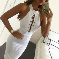 Sleeveless Cross Strap Halter Neck Dress
