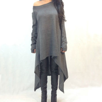 Women's Fashion Winter Irregular Dress Stylish Plus Size Long Sleeve T-shirts [8077548865]