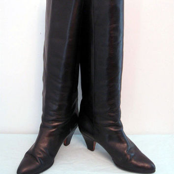 Vintage Giampaolo Salmaso Leather Boots Knee High Patent Details Italy 7 1/2
