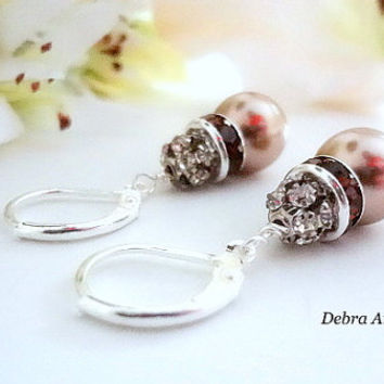 Swarovski Bronze Pearl and Crystal Earrings Fall Wedding Bridal Jewelry Mother of Bride Groom Gift Dark Champagne Pearl Bridesmaid Earrings